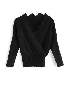 Haut en tricot drapé ondulé Cafe Time en noir