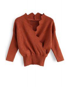 Haut en tricot ondulé Cafe Time au caramel