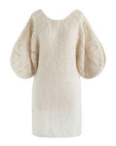 What We Dream - Robe droite tricotée à la main avec manches à bulles