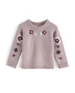 Ajouter plus de fleurs pull brodé en rose poussiéreux pour les enfants