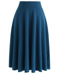 Jupe texturée en tricot dimanche après-midi en bleu
