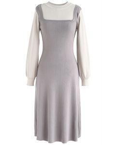 Robe en maille bicolore fausse et élégante Identity en gris