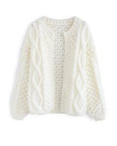 Cardigan en tricot torsadé matelassé blanc en blanc