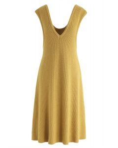 For the Love - Robe sans manches en tricot côtelé à la moutarde