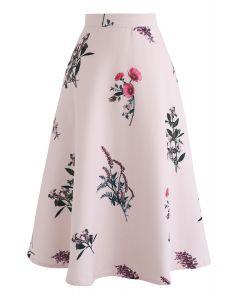 Jupe trapèze à motifs floraux