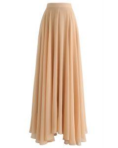 Jupe longue indémodable en mousseline beige clair