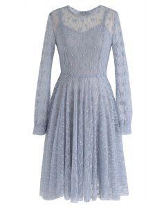 Robe de dentelle Once Upon a Dream en bleu poussière