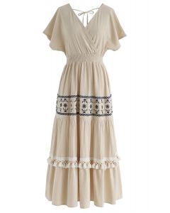 My Only Wish Boho - Robe portefeuille en lin
