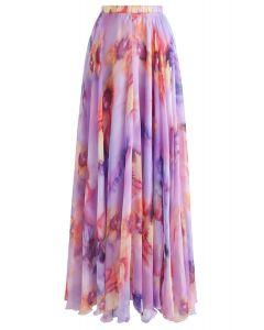 Jupe longue à fleurs aquarelle en lilas