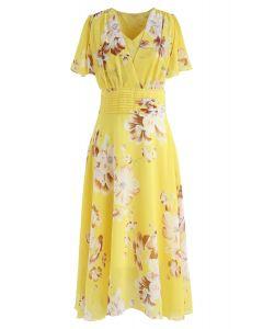 Sweet Surrender - Robe en mousseline à fleurs en jaune