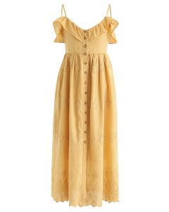 Belle robe cami brodée à la moutarde