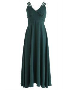 Robe camisole parfaite avec dos croisé en vert