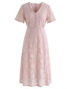Pensez à moi Full Lace Midi Dress in Pink