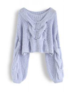 Pull manches bouffantes tricoté à la main en bleu