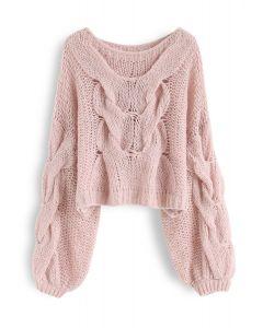 Pull manches bouffantes tricoté à la main en rose