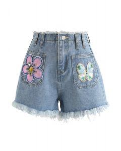 Sequin Trimmed High-Waisted Denim Shorts