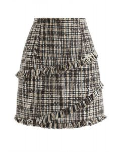 Mini jupe à franges en tweed à glands