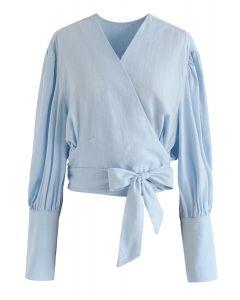 Haut éternel classique wrapper en blue