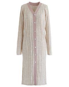 Button Front Longline Knit Cardigan in Nude Pink