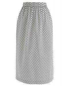 Dot Matrix Pencil Midi Skirt