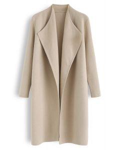 Classy Open Front Knit Coat in Light Tan