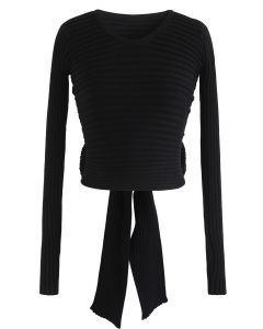Bowknot Back Crop Ribbed Knit Top in Black