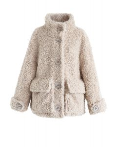 Buttoned Pocket Teddy Coat in Sand