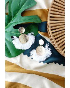 Tassel Gold Round Earrings in White