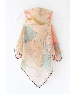 Floral Print Chiffon Sun Protection For The Face in Cream