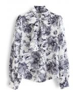 Floral Watercolor Self-Tie Bowknot Neck Shirt