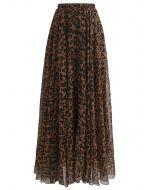Jupe longue aquarelle léopard brune